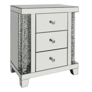 Sorento Mirror 3 Drawer Bedside Cabinet
