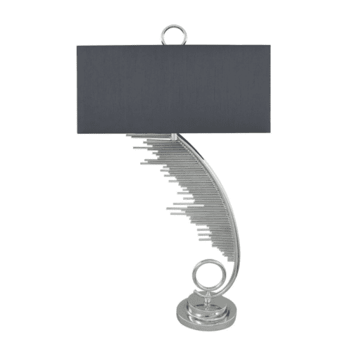 Silver Sculptured Sweeping Table Lamp