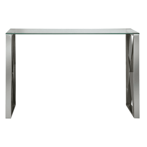 Zenith Stainless Steel Console Table Complete With A Clear Glass Top
