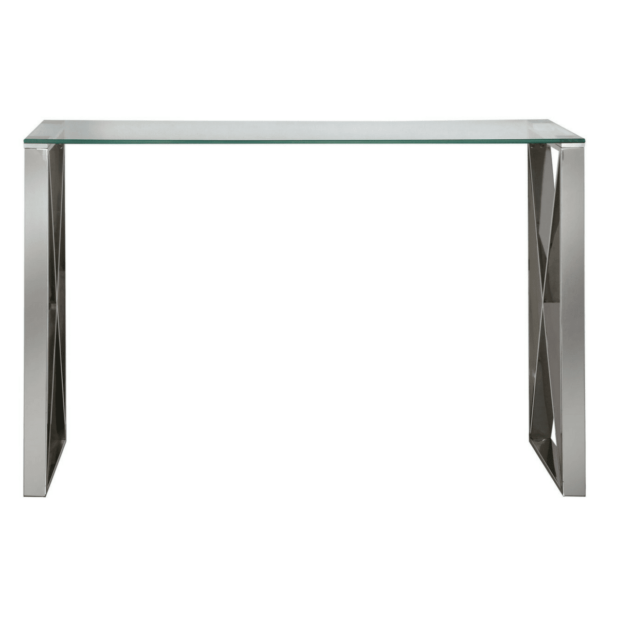 Zenith Stainless Steel Console Table Complete With A Clear Gl Top