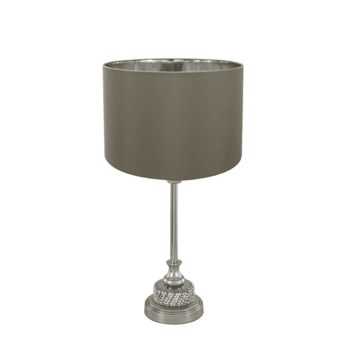 Burgundy Small Lamp Taupe & Silver