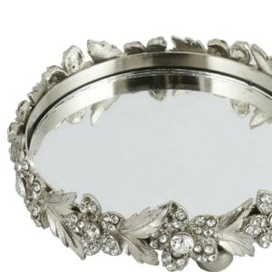 Mirror & Metal Flower Candle Plate