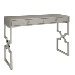 Bardot Light Taupe Faux Weave Leather 2 Drawer Console Table