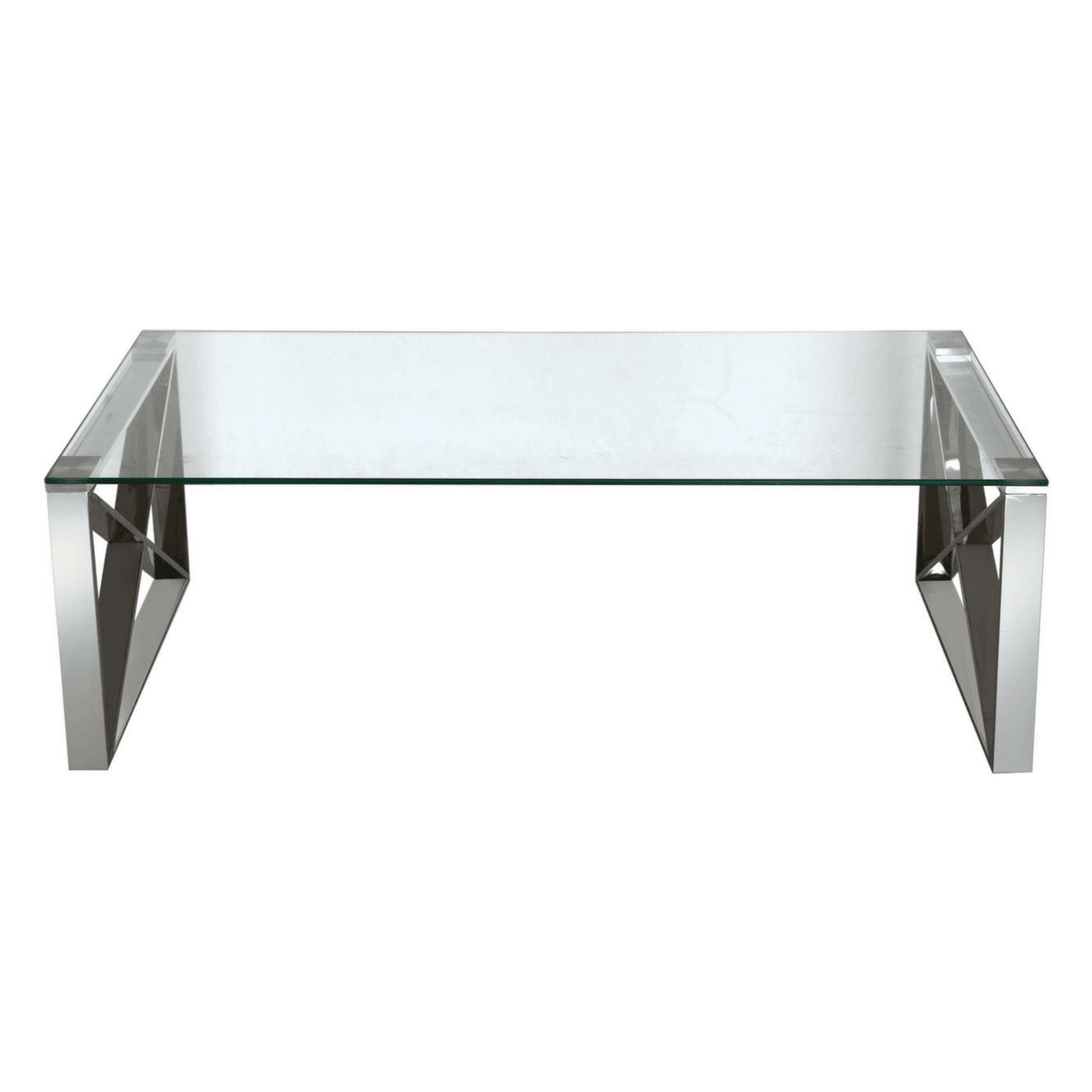 Zenith Stainless Steel Coffee Table With A Clear Glass Top