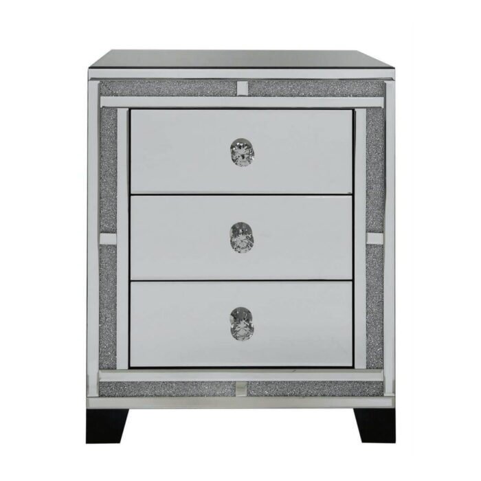 Milano Mirror 3 Drawer Bedside Cabinet