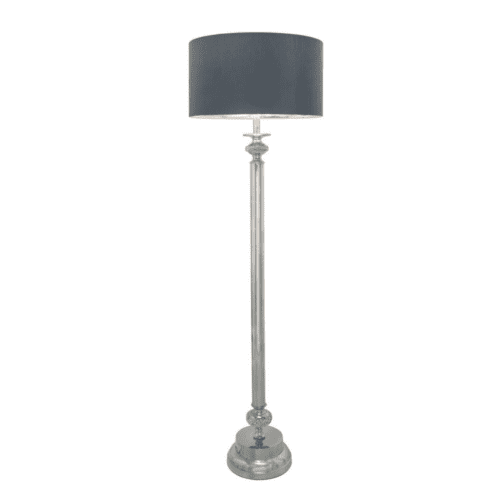 Nickel Diamante Candlestick Table Lamp with 19 inch Taupe Faux Silk Drum Shade