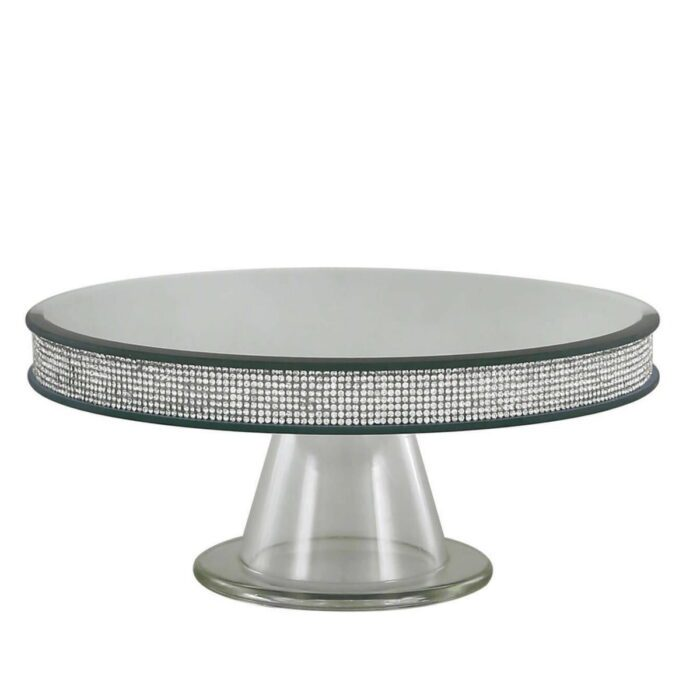 Silver Mirror Candle Plate Pedestal