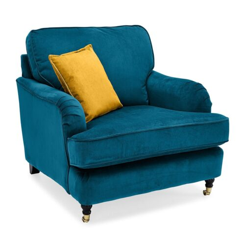 Velvet armchair teal one seater
