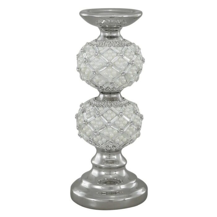 Candle Holder With Pearl Ivory Detail