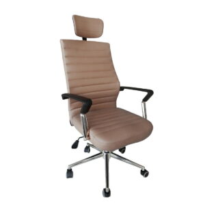 Flesk High Back Office Chair with Adjustable Headrest in Khaki