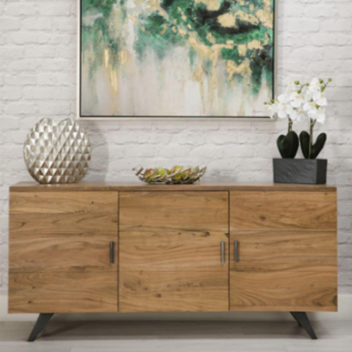 3 door wood and metal sideboard