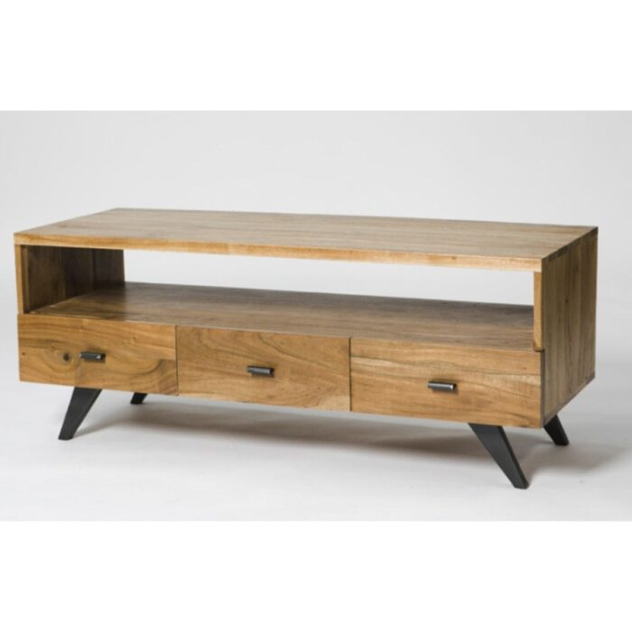 3 drawer wood and metal TV unit
