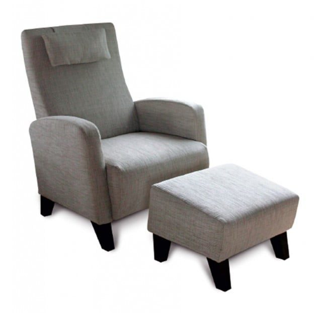 armchair footstool light grey