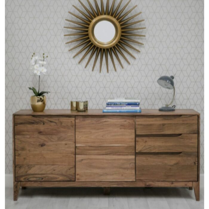 2 door 3 drawer acacia wood sideboard