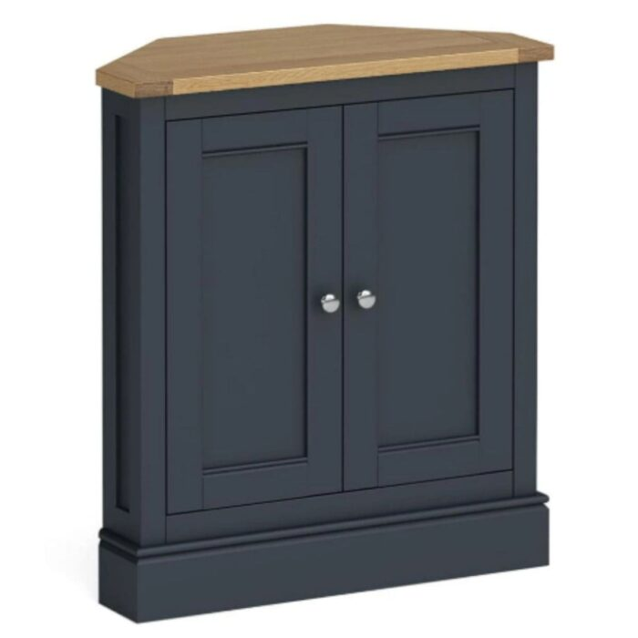 large charcoal and oak corner cupboard