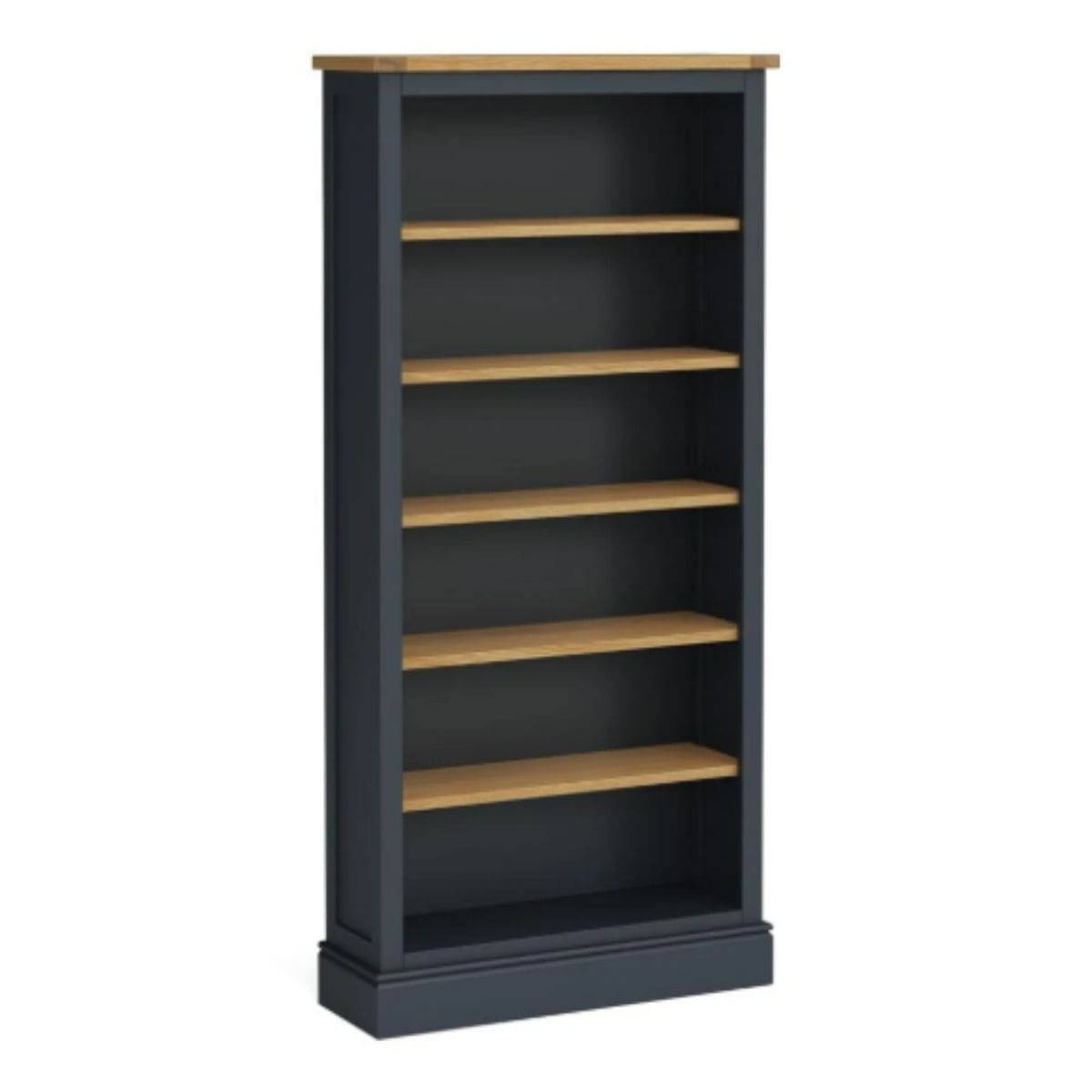 large charcoal and oak bookcase