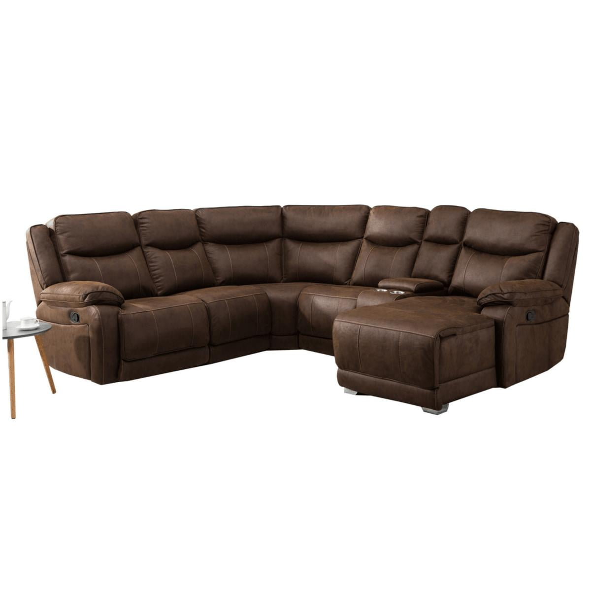 Brown Fabric Corner Suite with Cup Holder - Plymouth