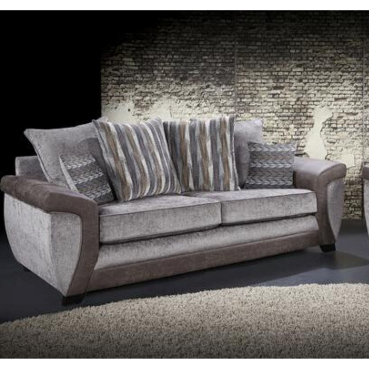 fabric and faux leather 2 seater sofa