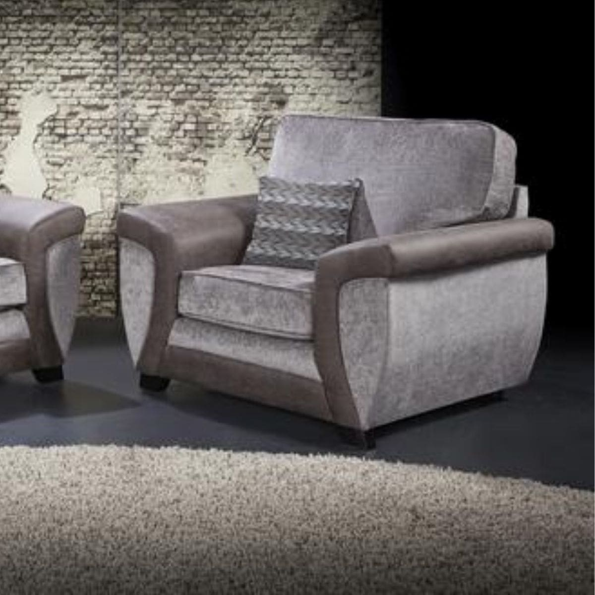 fabric and faux leather armchair
