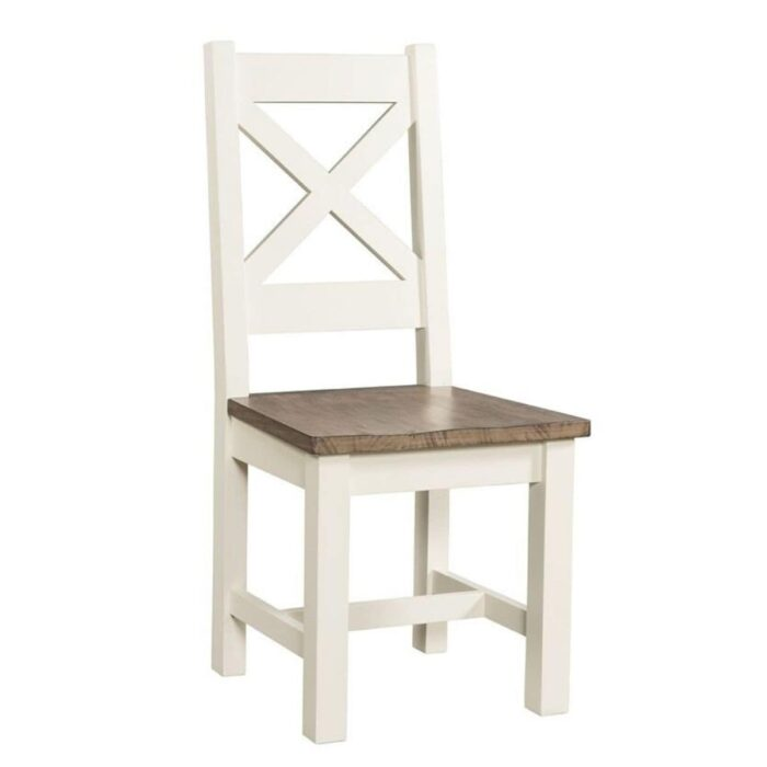 two tone cross back dining chair
