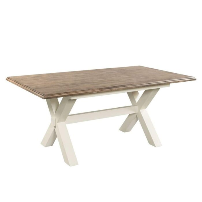 two tone dining table with cross legs